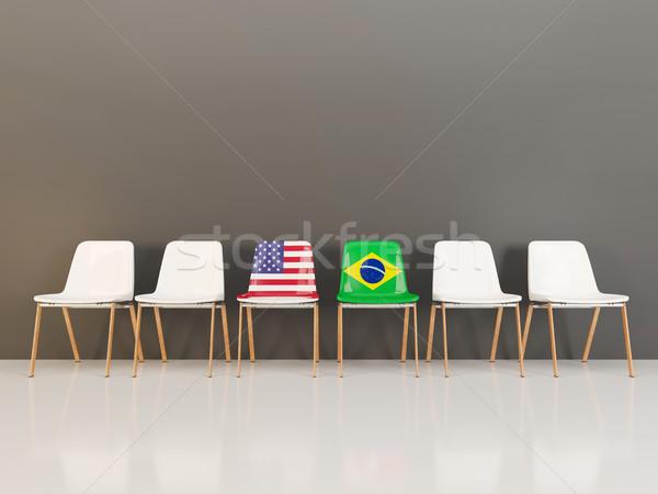 Stühle Flagge USA Brasilien Zeile 3D-Darstellung Stock foto © MikhailMishchenko