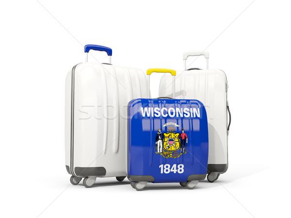 Bagaj bayrak Wisconsin üç çanta Amerika Birleşik Devletleri Stok fotoğraf © MikhailMishchenko