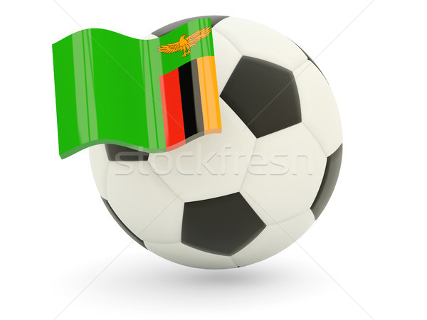 Stock fotó: Futball · zászló · Zambia · izolált · fehér · sport