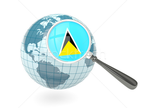 Magnified flag of saint lucia with blue globe Stock photo © MikhailMishchenko