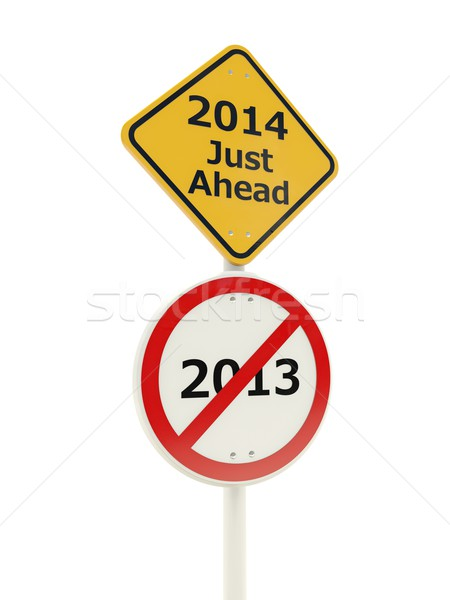2014 New Year just ahead road sign Stock photo © MikhailMishchenko