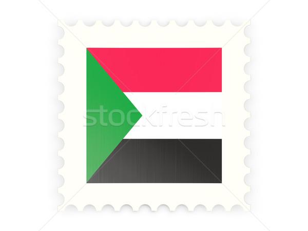 Postabélyeg ikon Szudán izolált fehér felirat Stock fotó © MikhailMishchenko