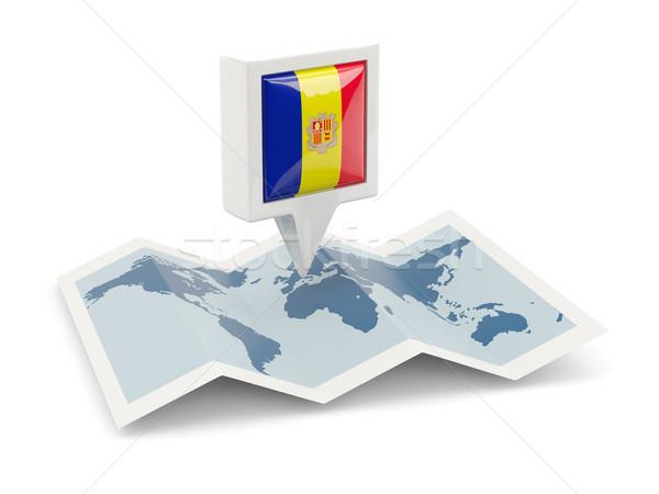 Platz Pin Flagge Andorra Karte Reise Stock foto © MikhailMishchenko