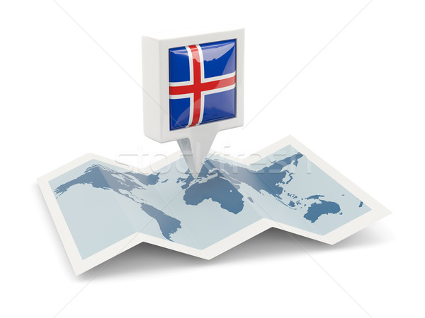 Vierkante pin vlag IJsland kaart reizen Stockfoto © MikhailMishchenko