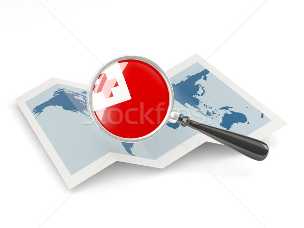Magnified flag of tonga with map Stock photo © MikhailMishchenko