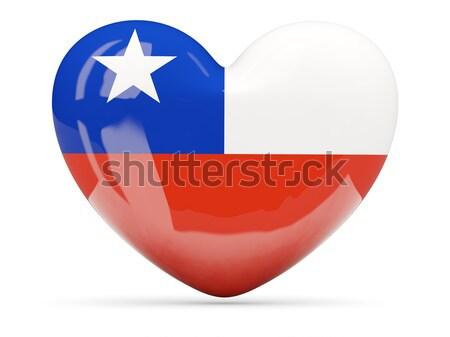 Heart shaped icon with flag of chile Stock photo © MikhailMishchenko