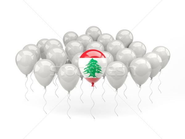 Levegő léggömbök zászló Libanon izolált fehér Stock fotó © MikhailMishchenko