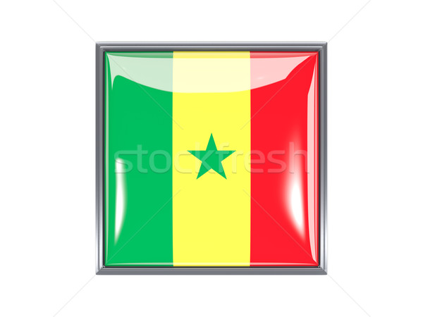 Praça ícone bandeira Senegal metal quadro Foto stock © MikhailMishchenko