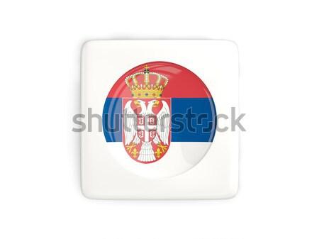 Etiqueta bandera Serbia aislado blanco viaje Foto stock © MikhailMishchenko