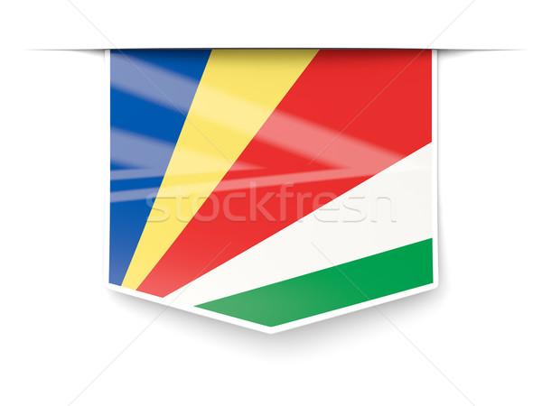 Tér címke zászló Seychelle-szigetek izolált fehér Stock fotó © MikhailMishchenko