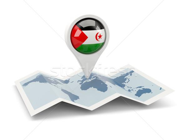 Stok fotoğraf: Pin · bayrak · batı · sahara · harita · seyahat