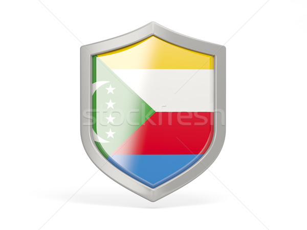 Shield icon with flag of comoros Stock photo © MikhailMishchenko