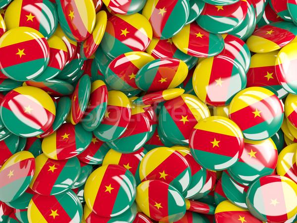 Bandeira Camarões fundo país pin círculo Foto stock © MikhailMishchenko
