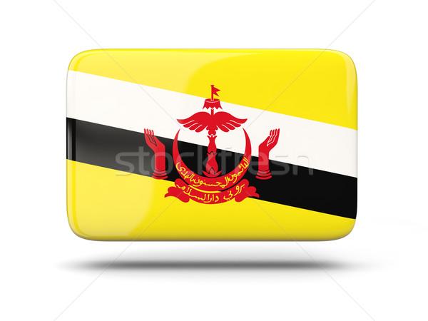 Vierkante icon vlag Brunei schaduw teken Stockfoto © MikhailMishchenko