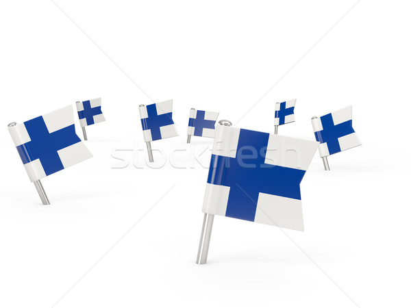 Vierkante vlag Finland geïsoleerd witte land Stockfoto © MikhailMishchenko