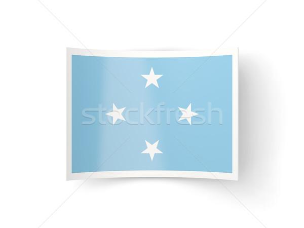 ícone bandeira Micronésia isolado branco país Foto stock © MikhailMishchenko