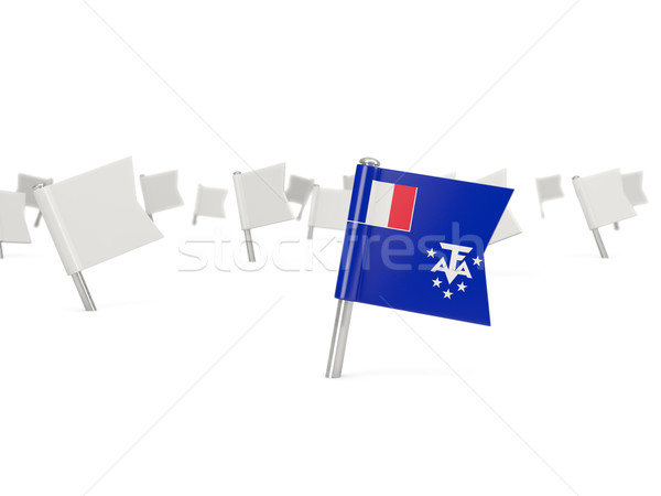 Square pin with flag of french southern territories Stock photo © MikhailMishchenko