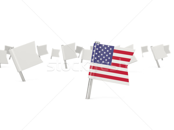 Square pin with flag of united states of america Stock photo © MikhailMishchenko