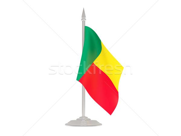 Vlag Benin vlaggestok 3d render geïsoleerd witte Stockfoto © MikhailMishchenko