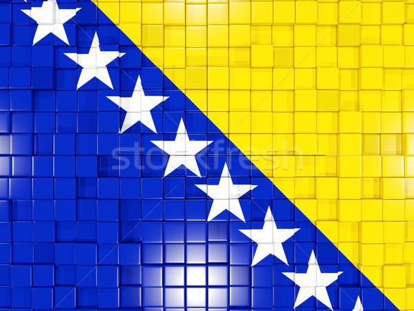 Cuadrados bandera Bosnia Herzegovina 3D mosaico Foto stock © MikhailMishchenko
