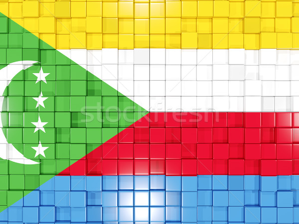 Background with square parts. Flag of comoros. 3D illustration Stock photo © MikhailMishchenko