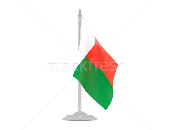 Flag of madagascar with flagpole. 3d render Stock photo © MikhailMishchenko