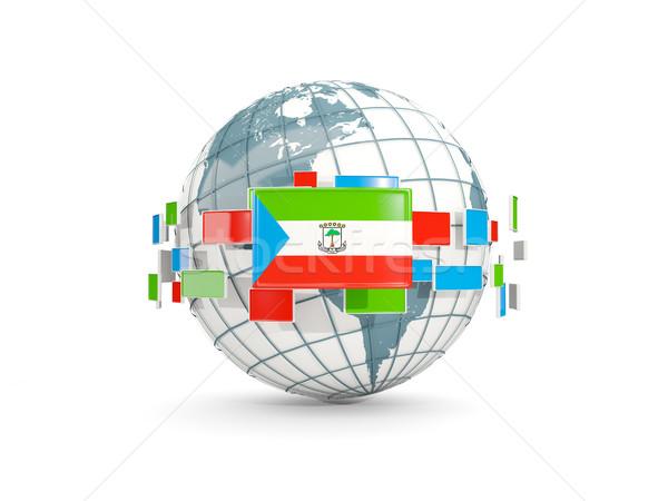 Dünya bayrak yalıtılmış beyaz 3d illustration harita Stok fotoğraf © MikhailMishchenko