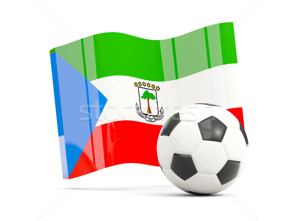 Football with waving flag of equatorial guinea isolated on white Stock photo © MikhailMishchenko