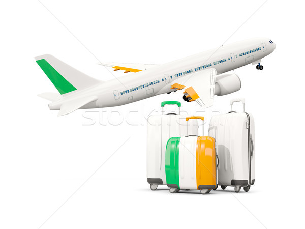 Bagage vlag drie zakken vliegtuig geïsoleerd Stockfoto © MikhailMishchenko