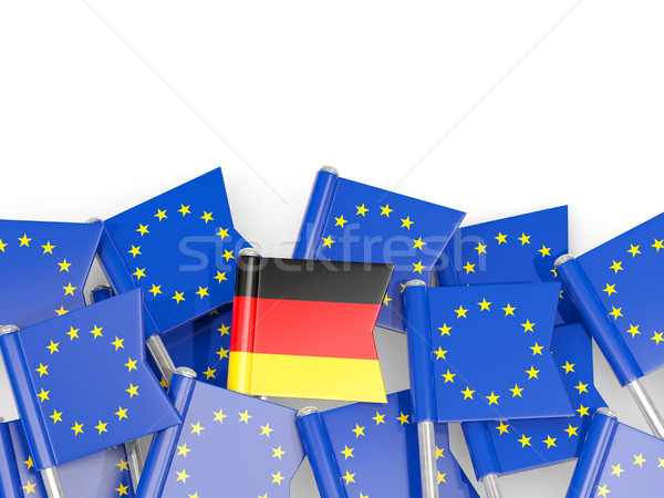 Flag pins of Germany and EU isolated on white Stock photo © MikhailMishchenko
