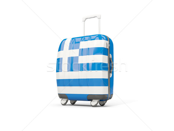Luggage with flag of greece. Suitcase isolated on white Stock photo © MikhailMishchenko
