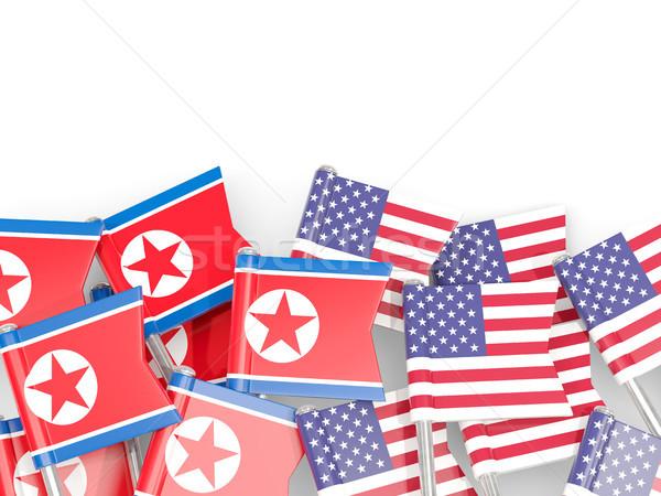 Flag pins of North Korea (DPRK) and USA isolated on white Stock photo © MikhailMishchenko