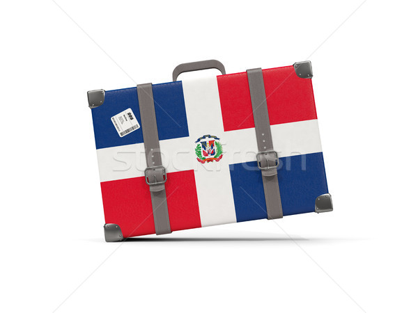 Luggage with flag of dominican republic. Suitcase isolated on wh Stock photo © MikhailMishchenko