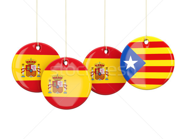 Round flags of Spain and Catalonia Stock photo © MikhailMishchenko