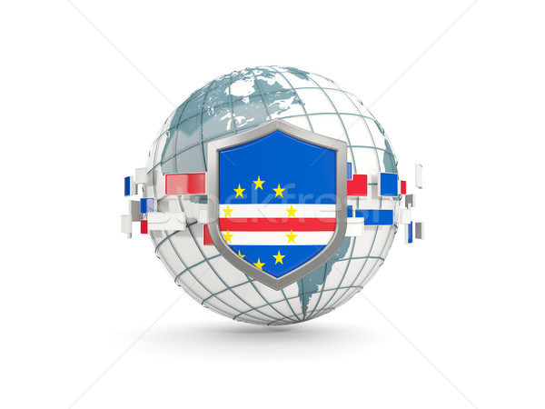 Globe and shield with flag of cape verde isolated on white Stock photo © MikhailMishchenko
