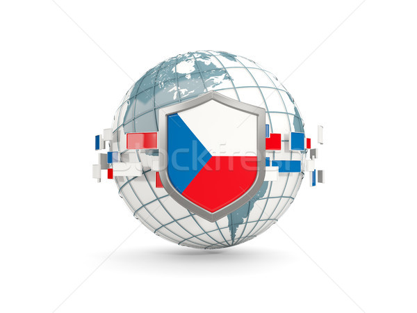 Globe and shield with flag of czech republic isolated on white Stock photo © MikhailMishchenko