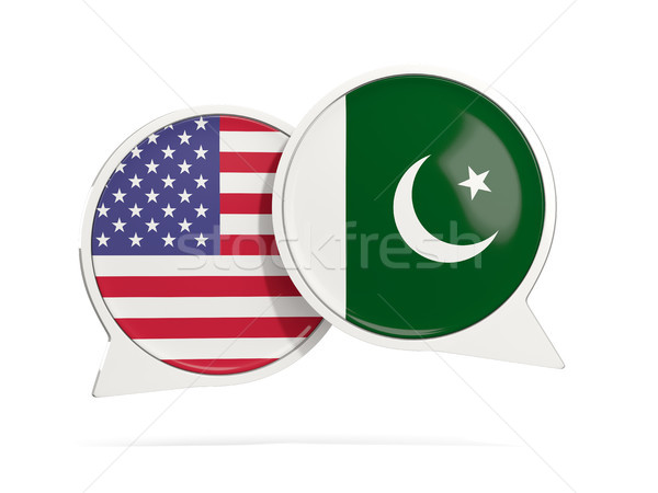 Chat bubbles of USA and Pakistan isolated on white Stock photo © MikhailMishchenko