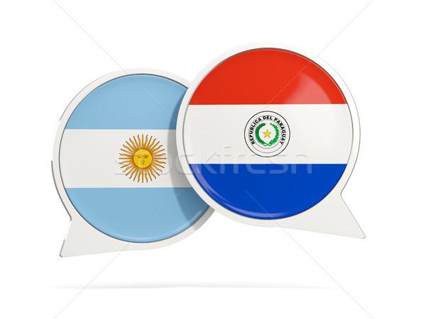 Chat buborékok Argentína Paraguay izolált fehér Stock fotó © MikhailMishchenko