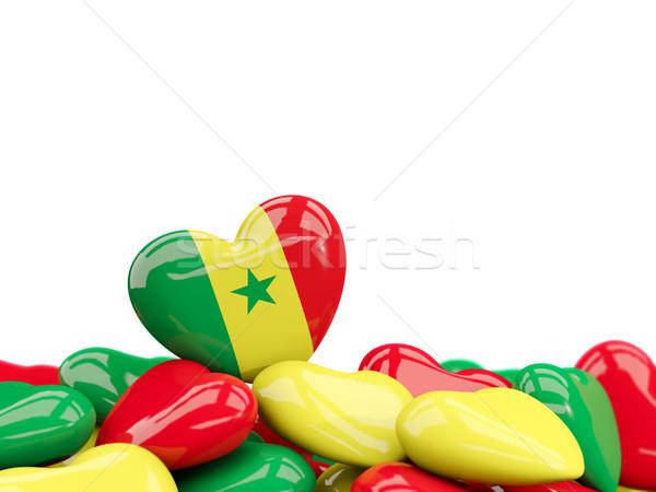 Szív zászló Szenegál felső szívek izolált Stock fotó © MikhailMishchenko