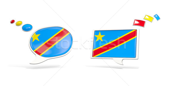 Two chat icons with flag of democratic republic of the congo Stock photo © MikhailMishchenko