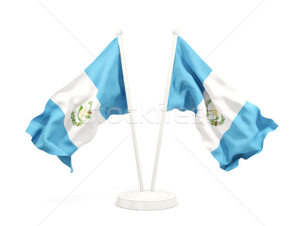 Dois bandeiras Guatemala isolado branco Foto stock © MikhailMishchenko