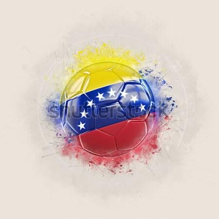 Football in flames with flag of venezuela Stock photo © MikhailMishchenko
