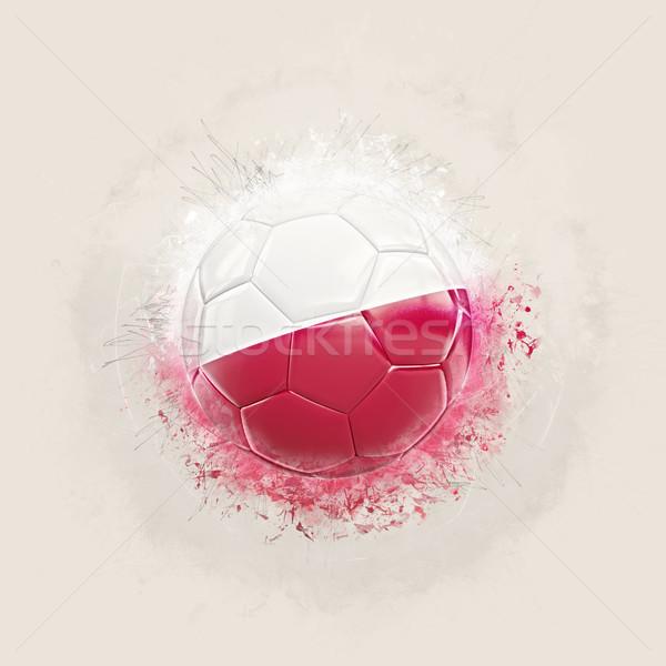 Сток-фото: Гранж · футбола · флаг · Польша · 3d · иллюстрации · дизайна