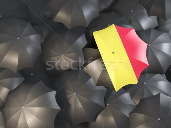 Stock foto: Dach · Flagge · Belgien · top · schwarz · Regenschirme