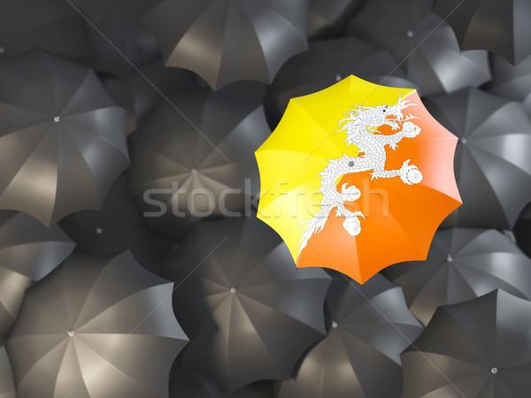 Paraplu vlag Bhutan top zwarte parasols Stockfoto © MikhailMishchenko