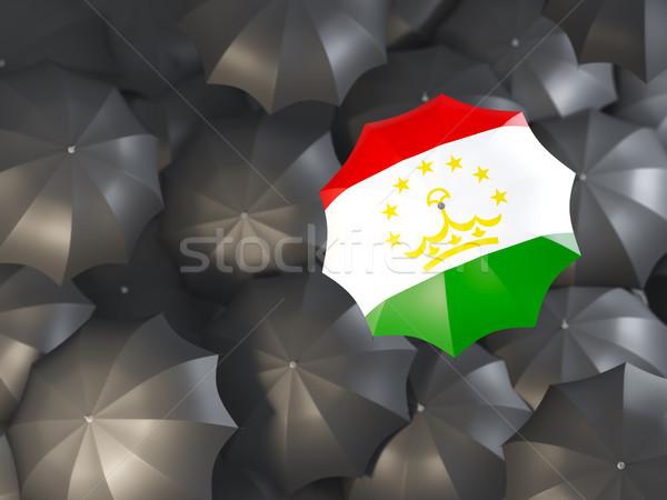Esernyő zászló Tádzsikisztán felső fekete esernyők Stock fotó © MikhailMishchenko