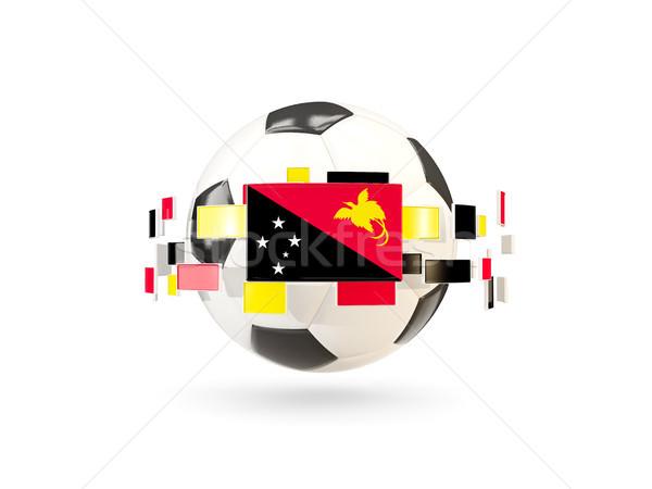 Futballabda vonal zászlók zászló Pápua Új-Guinea lebeg Stock fotó © MikhailMishchenko
