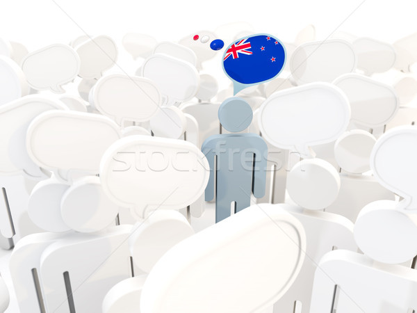 Man vlag New Zealand menigte 3d illustration teken Stockfoto © MikhailMishchenko