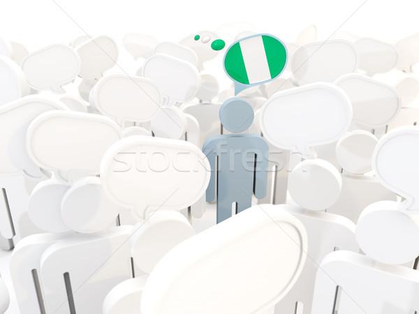 Adam bayrak Nijerya kalabalık 3d illustration toplantı Stok fotoğraf © MikhailMishchenko