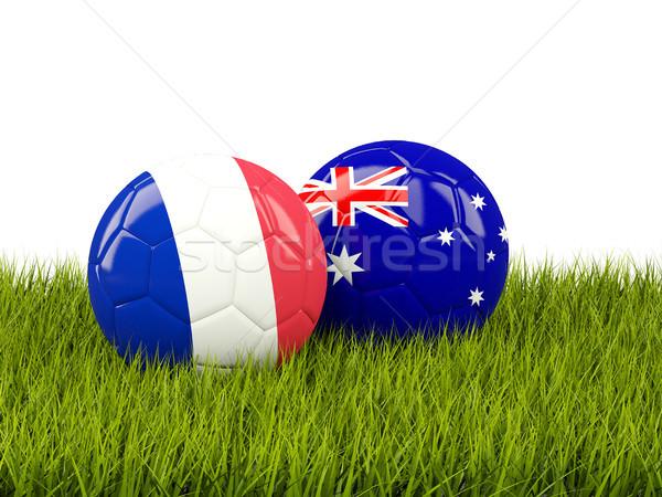 France vs Australie football drapeaux herbe verte Photo stock © MikhailMishchenko